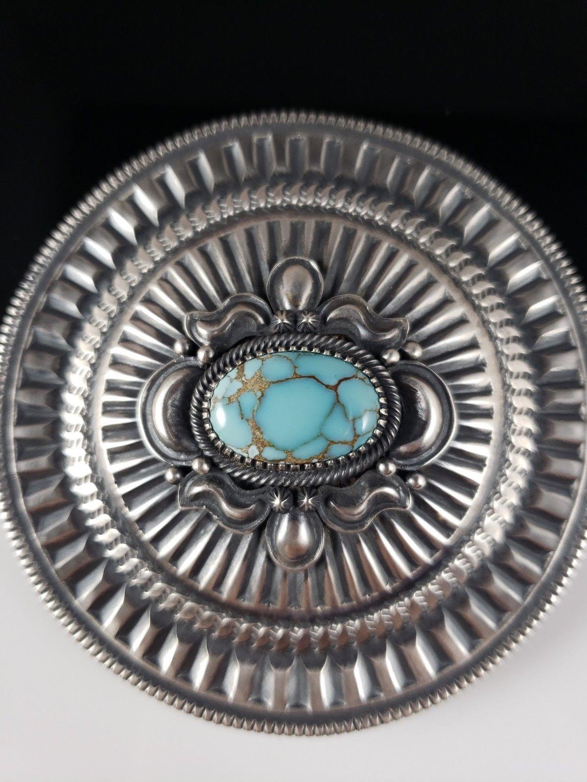 Navajo Sterling Silver Concho Belt Buckle Gobi Desert Turquoise Derrick Gordon